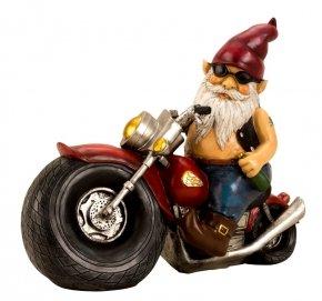 Gartenzwerg Motorrad Biker bunt Keramik XXL der Kult Zwerg als Geschenk für Weihnachten (Gartenzwerg Biker)