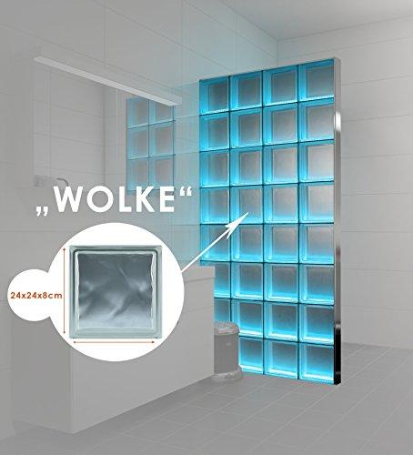 Preisvergleich Produktbild LMW Light My Wall beleuchtete Glassteinwand aus Glasbausteinen in dem Format 24x24x8 cm Gesamtgröße: B 122,5 x H 196,0 cm (Wolke klar)