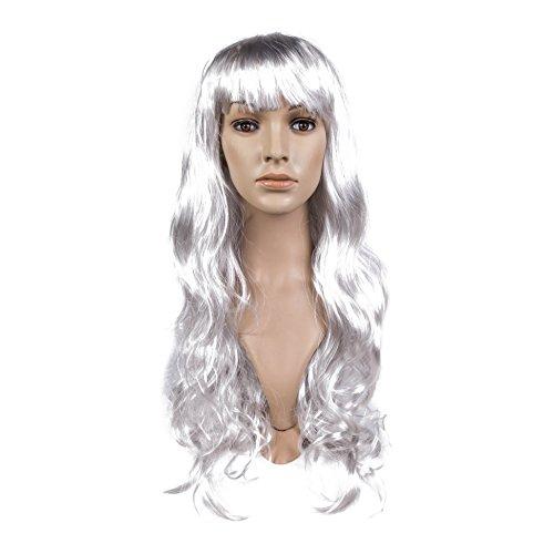 Lang 70cm Wllig Damen Cosplay Kostüm Synthetisch Perücke - Silbern, Women: One Size (Farbige Kostüme Perücken)