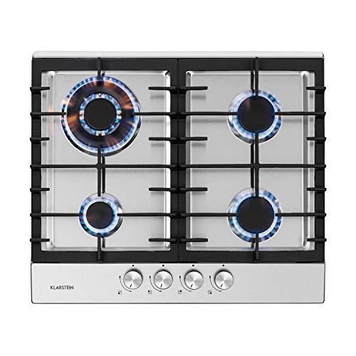 Klarstein Ignito - Plaque de cuisson, 4 zones, à gaz, 4 feux, 60 cm, encastrée, brûleur Sabaf, gaz naturel/gaz propane, soupapes de sécurité, arrêt automatique, acier inoxydable, argent