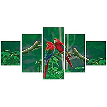 eCraftIndia 'Parrots Pair' Painting (Canvas Print, 127 cm x 60.96 cm, Set of 5)