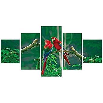 eCraftIndia 'Parrots Pair' Painting (Canvas Print, 127 cm x 60.96 cm, Set of 5)
