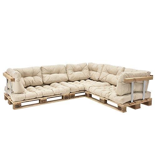 [en.casa] Palettenkissen - 11-teilig - Sitzpolster + Rückenkissen [creme] Paletten-Sofa In/Outdoor