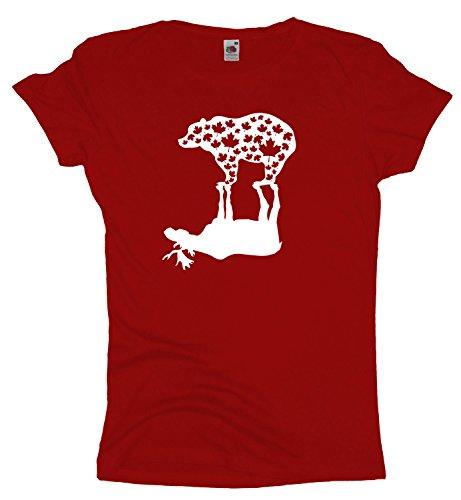 Ma2ca Canada | Elch und Grizzlybär Damen T-Shirt | Kanada | Shirt-Rot-m (Unisex Kanada T-shirt)