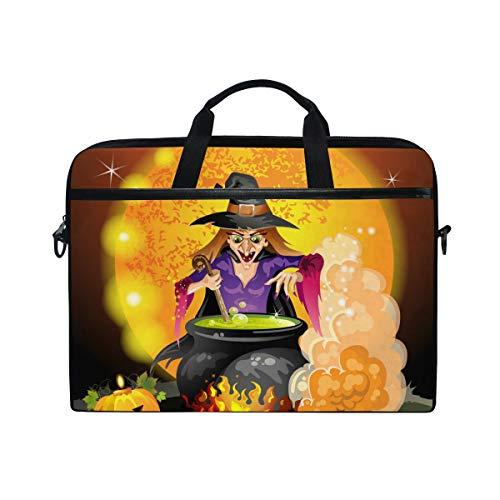 Ahomy Halloween Kürbis Hexe Potion Multifunktionale Stofftasche Wasserdicht Laptop Tasche Aktentasche Schultertasche Messenger Bag