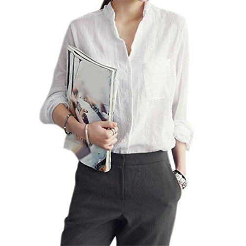 Bluse Damen, Brawdress Baumwolle Leinen Hemd Lange Ärmel Tops Blusen (L, Weiß)
