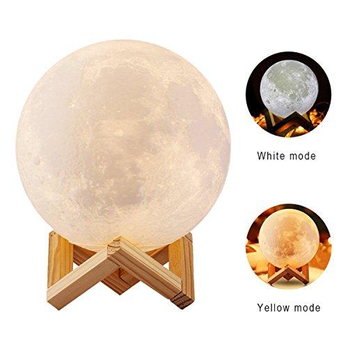 20cm 3D Mond Lampe, USB LED Nachtlicht 16 Farben RGB Magische Mond Tischlampe Moonlight Geschenk mit Fernbedienung & Holz Halter & Geschenkbox