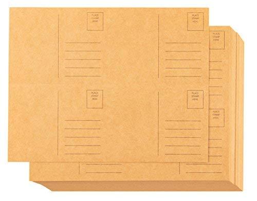 Blanko Postkarten-100-sheet Kraft Postkarten, selbst Mail Versandtaschen Seite Postkarten, 4pro Seite 400Postkarten insgesamt, perforiert, 10,2x 15,2cm