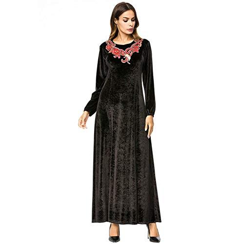 QAQBDBCKL Velour Muslim Abaya Schwarzes Kleid Stickerei Frauen Dubai Kleidung Vintage Marokkanische Kaftan Arabische Roben -