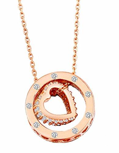Rose Ring Diamond Engagement Gold (korpikus® Metall Jewelled Ring hohle Herzen Halskette KOSTENLOSER Organza Geschenktüte - (Rose Gold Farbe))