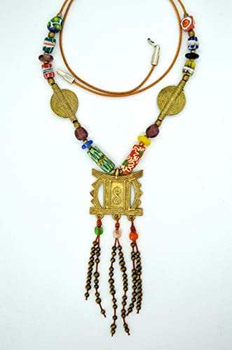 Collana da donna tribale con ciondolo africano e perline di vetro