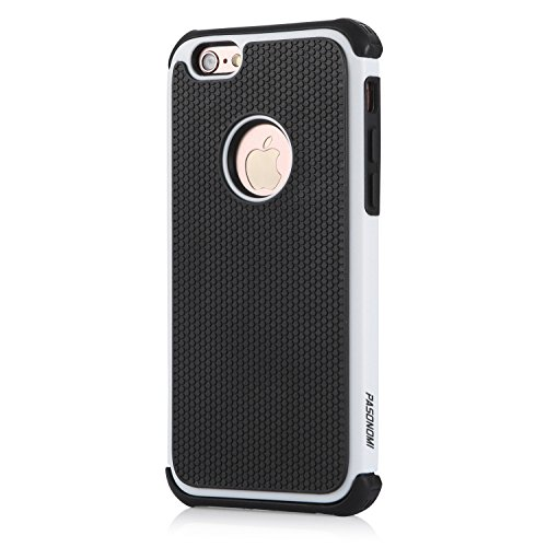 iPhone 6S Plus Hülle, iPhone 6 Plus Hülle, Pasonomi® Outdoor Stoßfest Weich Silikon Dual Layer Hybride Armor Hüllen Bumper Handy Tasche Cover Premium Etui für iPhone 6S Plus (2015) / iPhone 6 Plus (20 Weiß