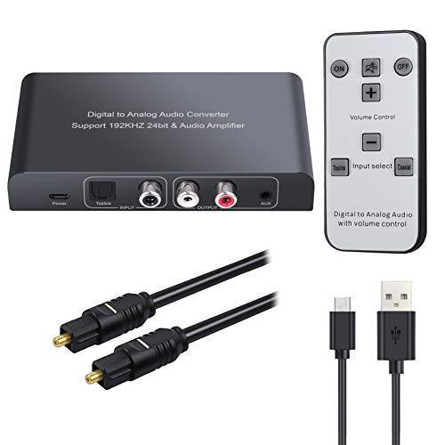 Neoteck DAC Convertitore 192Khz con Telecomando DAC Convertitore Adattatore da Digitale SPDIF Coaxial Toslink ad Analogico Stereo L/R RCA 3.5mm Jack Audio Supporto Controllo Volume con Telecomando IR