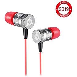 ⭐️KLIM™ Fusion Écouteurs Haute Qualité Audio - Durable + Garantie 5 Ans - Innovant : Ecouteurs Intra-auriculaire avec Mousse à Mémoire de Forme avec Microphone - Nouvelle Version 2019 - Rouge