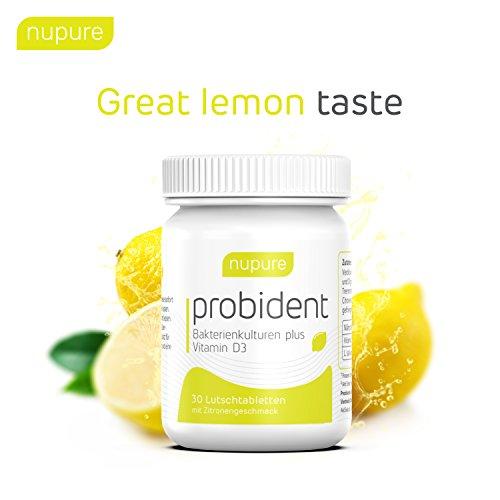 Nupure Probident - Bakterienkulturen für die Mundflora, Lutschtabletten mit Zitronengeschmack, Frischer Atem gegen Mundgeruch. Mundhygiene ohne Mundspülung, Mundwasser, Munddusche und Zungenreiniger - 4