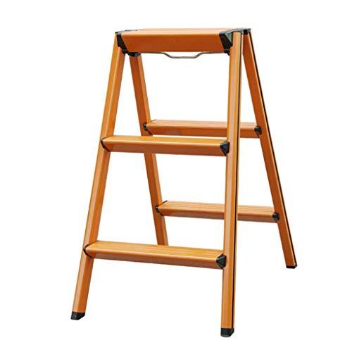 LADDERS Home Regalleiter, vierstufige Leiter aus Metall Klappbare dreistufige Leiter Home Multi-Funktions-Doppelleiter (Color : Orange, Size : 420 * 575 * 700MM)