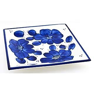 Art Escudellers Keramikgeschirr, handgefertigt, handbemalt, klassisch, Blau 22101 - Squared Plate