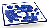 Art Escudellers Piatto Quadrato in Ceramica Fatto e Dipinto a Mano con Decorazione Classic Blu. 24 cm x 24 cm x 3,5 cm