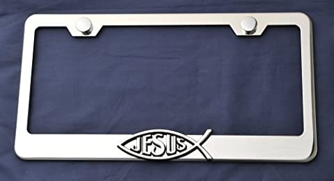 Jesus Fish Spiritual Love 3d Emblem Stainless Steel License Plate Frame Chrome, New by License plate frame