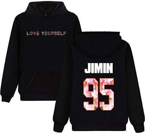 SERAPHY Unisex BTS Felpe con cappuccio BTS Love Yourself Felpa con Pile Suga Jin Jimin Jung Kook J-Hope Rap-Mostro V nero-95-JIMIN