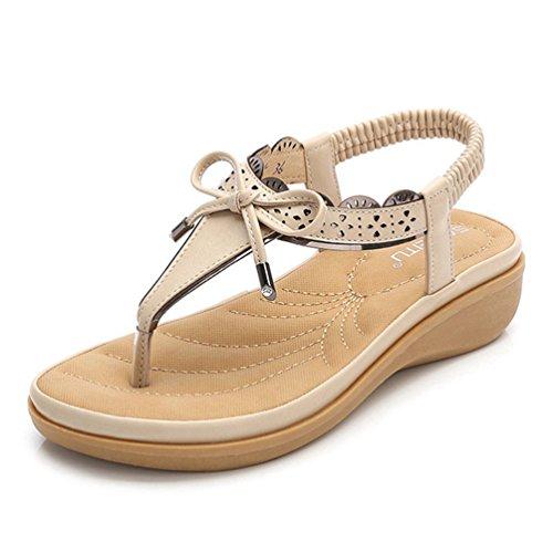 Women es Bowknot Sandale Thong Slip auf Flip Flop Toe Faux Leder Strand Sommer Casual Plateau Flache Schuhe (Kette Thong Sandale Kette)