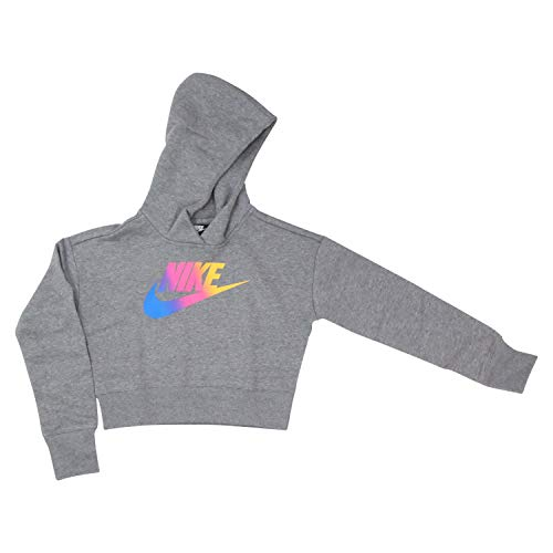 Nike Kinder FF Crop Sweatshirt, Carbon Heather/White, M