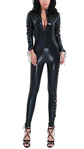 IINIIM Lingerie Combinaisons Femme Cuir Verni Manches Longues Déguisement éclair de l'entrejambe Noir Collant pour Cocktail Vêtement de nuit Taille Haute M-XXL Clubwear