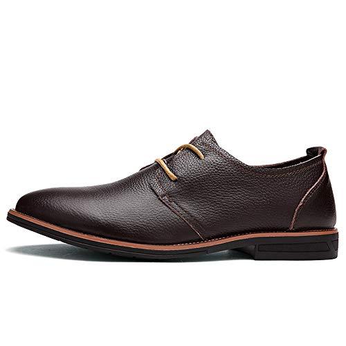 Apragaz Herrenmode Oxford Schuhe Formale Klassische Langlebige Schuhe Einfacher Stil Atmungsaktive Reine Farbe Lederschuhe (Color : Dunkelbraun, Größe : 44 EU) Cap Toe Oxford Heels
