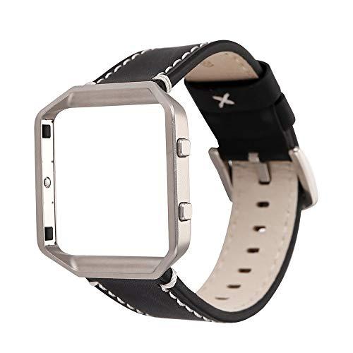 Altsommer Bunter Farben Armband 23mm für Fitbit Blaze Armband Fashion Leder Ersatz Armband mit Metallgehäuse Armband Armband Metall Schnalle Bügel für Damen Herren,150-225MM (Schwarz)