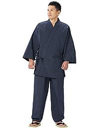 WATANOSATO Samue von Bunjin (Gitter-Muster), japanische Kleidung, Größe für Herren