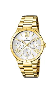 University Sports Press F16717/1 - Reloj de cuarzo para mujer, con correa de acero inoxidable chapado, color dorado