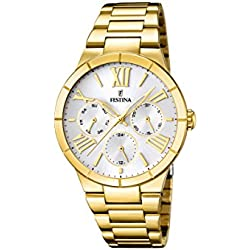 Festina F16717/1 - Reloj de cuarzo para mujer, con correa de acero inoxidable chapado, color dorado
