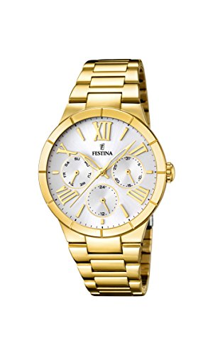 Festina Women's Quartz Watch with White Dial Analogue Display and Gold Stainless Steel Plated Bracelet F16717/1