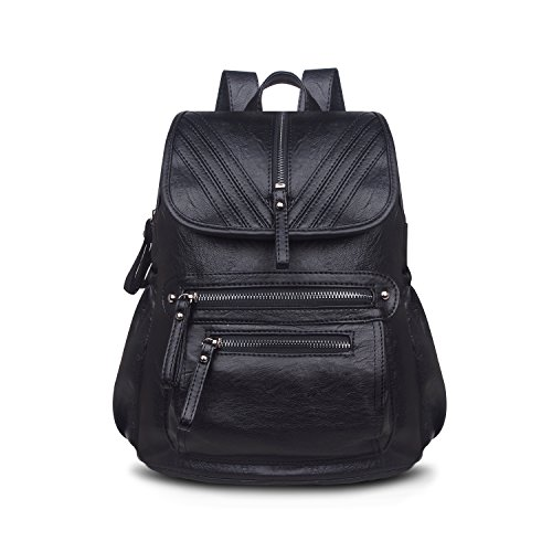 58059e10932 Soft Leather Backpack, ZZSY Women School Bag Purse Ladies Travel Shoulder  Bag for Girls