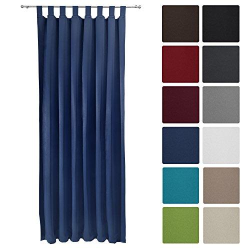 Beautissu tenda oscurante con passanti serie amelie - 140x245 cm blu - tenda blackout protettiva con asole