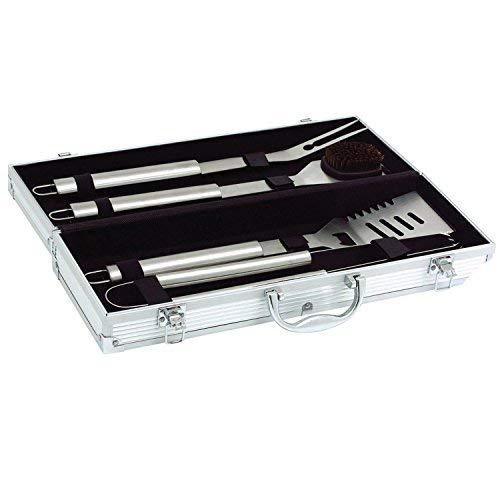 41bRdChG7RL - Goods & Gadgets Edelstahl Profi Grillbesteck-Set 5-teilig Grill-Koffer BBQ Besteck Zubehör fürs Grillen mit Grillbürste