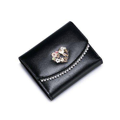 Yvonnelee Donne Della Signora Lungo Della Borse Borsa cuoio genuino Della Carta Portafoglio Leather Titolare Nero