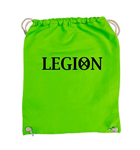 Comedy Bags - LEGION - LOGO2 - Turnbeutel - 37x46cm - Farbe: Schwarz / Silber Hellgrün / Schwarz
