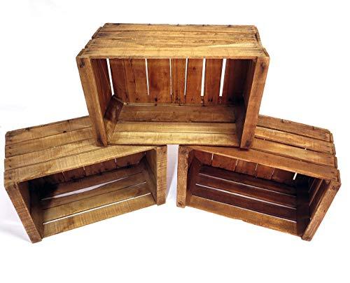Set 3 Boîte en hêtre vintage - recommandée pour la réalisation de meubles, étagères, bibliothèques, etc. - Boîtes de fruits anciennes - boîtes en bois