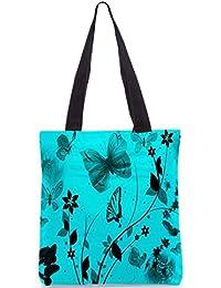 Snoogg Women's Tote Bag (Turquoise-RPC-3110-bag)