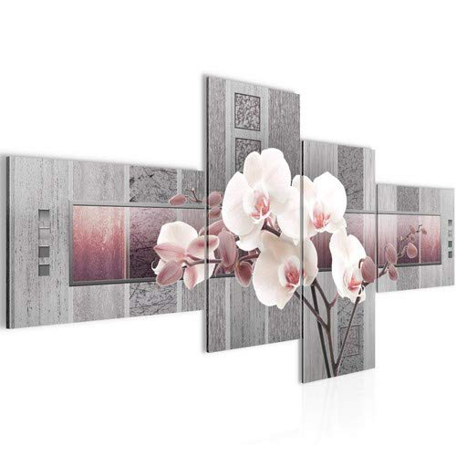Bilder Blumen Orchidee Wandbild 200 x 100 cm Vlies - Leinwand Bild XXL Format Wandbilder Wohnzimmer Wohnung Deko Kunstdrucke Rosa Grau 4 Teilig - Made IN Germany - Fertig zum Aufhängen 204641c -