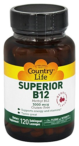 Country Life – Superior B-12 Sublingual Berry Flavor 3000 mcg. – 120 Lozenges