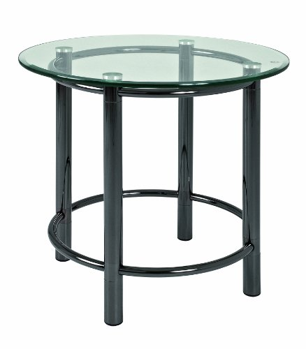 Haku Möbel 42071 Low Occasional Table Steel Tubing Tempered Glass Black / Nickel-plated