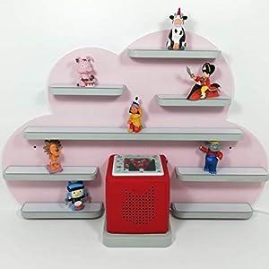 Tonie Board, Wolke in rosa mit grauen, weißen oder natur Regalen, ideale Aufbewahrung für Tonie Box und Tonie Figuren, Kinderzimmer Regal, Deko Board, Musikboxaufbewahrung, Hängeregal
