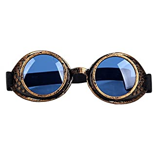 AFUT Premium Quality Rivet Vintage Round Rave Victorian Punk Style Steampunk Goggles Gothic Lens Brass Glasses Welding Cyber Punk Novelty Cosplay