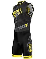 FDX Sublimation Combinaison de triathlon rembourrée pour homme Cyclisme Course à pied Natation