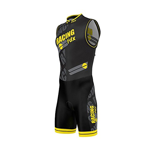 FDX Herren-Triathlonanzug mit Sublimationsdruck. Rennhaut mit gepolsterter Kompression zum Laufen, Schwimmen,Radfahren., gelb, M