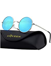 GQUEEN Classic Lennon Round Polarized UV400 Protection Sunglasses with Vintage Circle Metal Frame Spring Hinge MEZ1