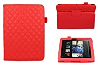 CaseGuru Cargo Biker Red Leather Style Entertainment Stand Up Case Cover Protection Holder With Magnetic Snap Closure & Viewing Stand Feature For Kindle Fire HD 7�?? Tablet (Not Suitable for 2015 Version)