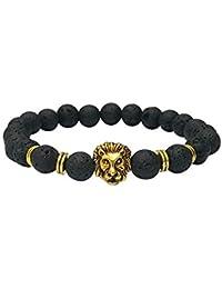 7fc72a3f285d JAKU Venta al por mayor Buddha Leo Lion Pulsera Pulseras con cuentas de  piedra de lava